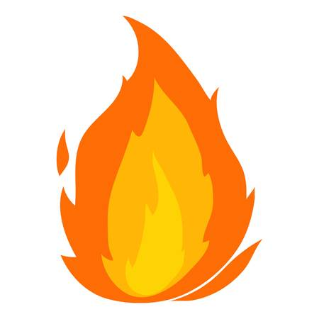 Illustration for Flame icon, cartoon style - Royalty Free Image