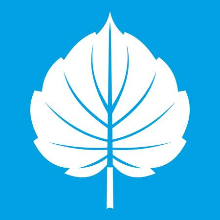 Alder leaf icon white isolated on blue background vector illustration