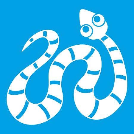 Striped snake icon white isolated on blue background vector illustration