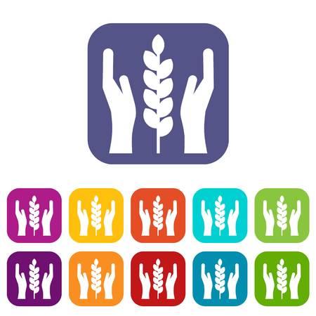 Illustration pour Hands and ear of wheat icons set - image libre de droit