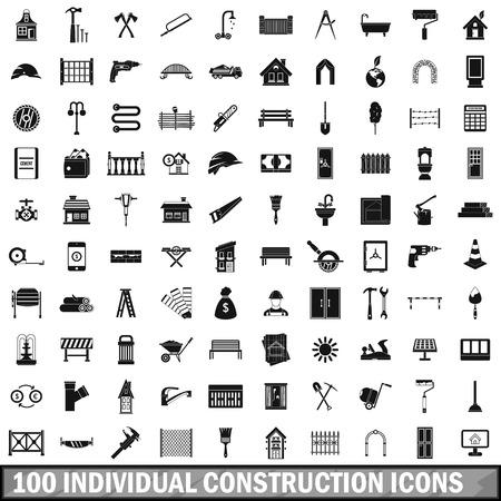 100 individual construction icons set