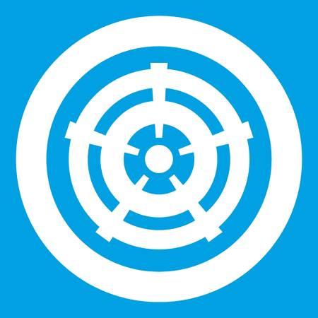 Car wheel icon white isolated on blue background vector illustration
