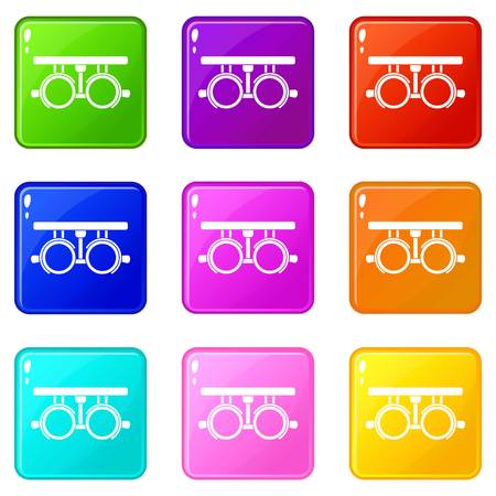 Trial frame for checking patient vision icons of 9 color set isolated vector illustration