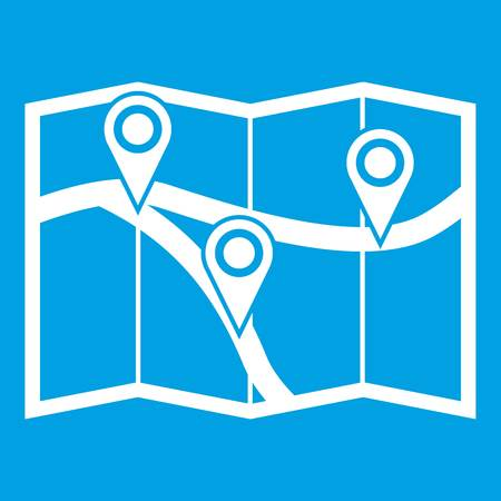 Map with pin pointers icon white isolated on blue background vector illustration