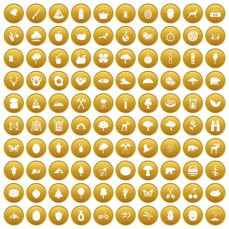 100 camping and nature icons set in gold circle isolated on white vector illustration
