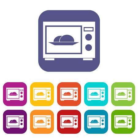 Microwave Icons Set Vector Ilration