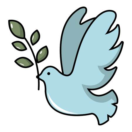 Illustration pour Pigeon with olive branch icon. Cartoon illustration of pigeon with olive branch vector icon for web design - image libre de droit