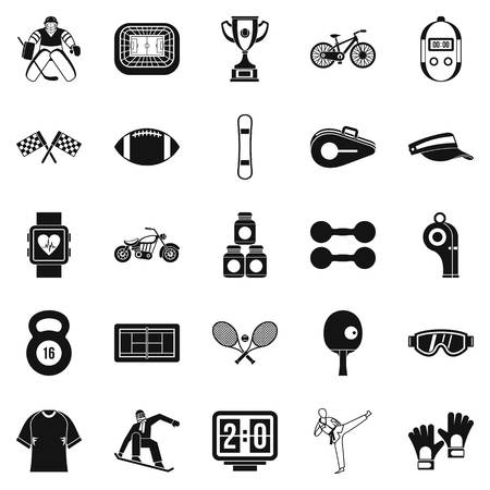 Strong man icons set, simple style
