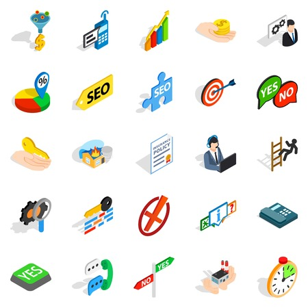 Ilustración de Headquarters icons set. Isometric set of 25 headquarters vector icons for web isolated on white background - Imagen libre de derechos