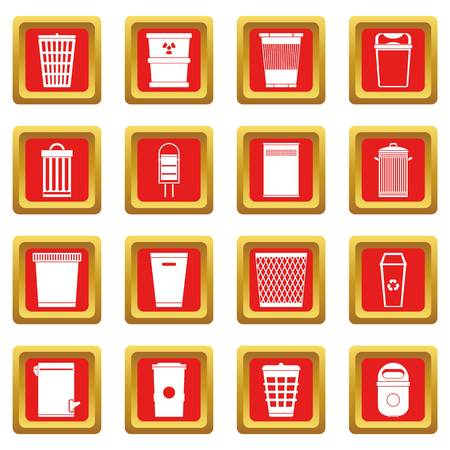 Trash can icons set red