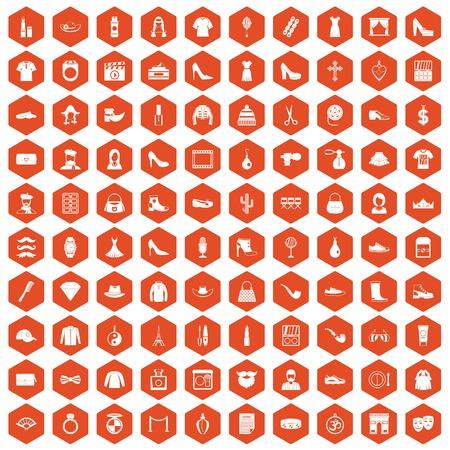 100 stylist icons set in orange hexagon isolated vector illustration