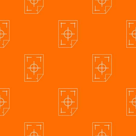Printer marks on a paper pattern repeat seamless in orange color for any design. Vector geometric illustration