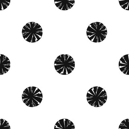 Dangerous planet pattern repeat seamless in black color for any design. Vector geometric illustration