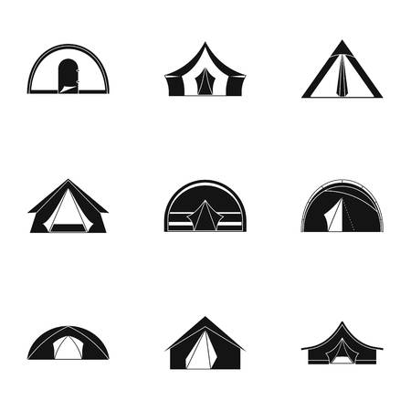 Tourist tent form icon set  Simple set of 9 tourist tent form vector