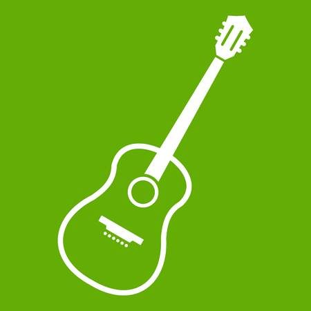 Charango icon white isolated on green background. Vector illustration.
