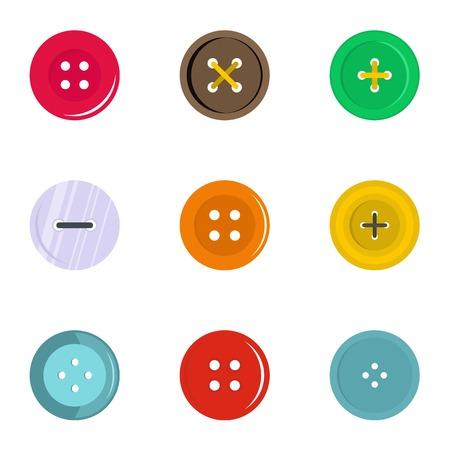 Ilustración de Circular clothes button icon set, flat style - Imagen libre de derechos
