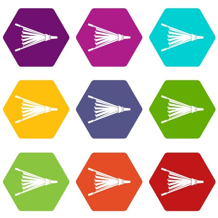 Fire bellows icon set color hexahedron