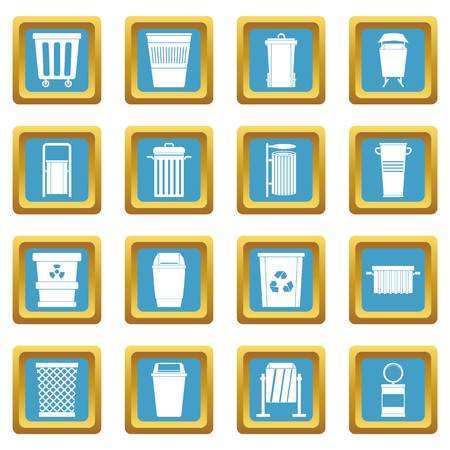 Garbage container icons set in azur color isolated vector illustration for web and any design