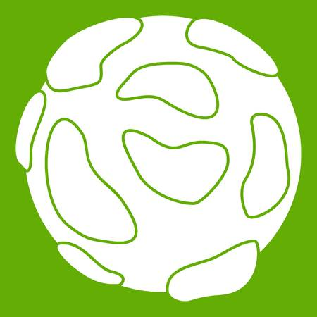Beautiful planet icon white isolated on green background. Vector illustration