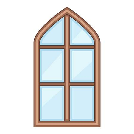 Tower window frame icon, cartoon style