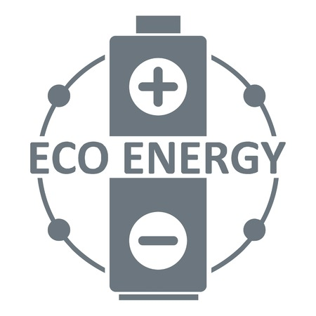 Eco battery logo, simple gray style