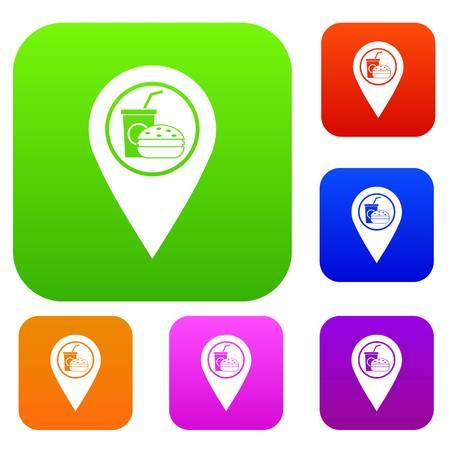 Illustration pour Fast food and restaurant map pointer set color collection - image libre de droit