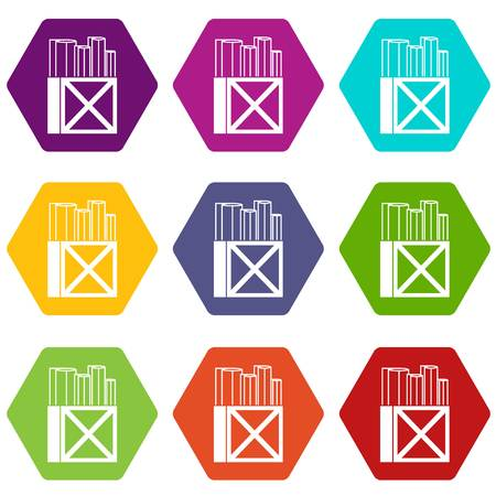 Rolls of white paper in a wooden box icon set color hexahedron