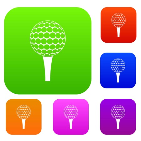 Golf ball on a tee set color collection
