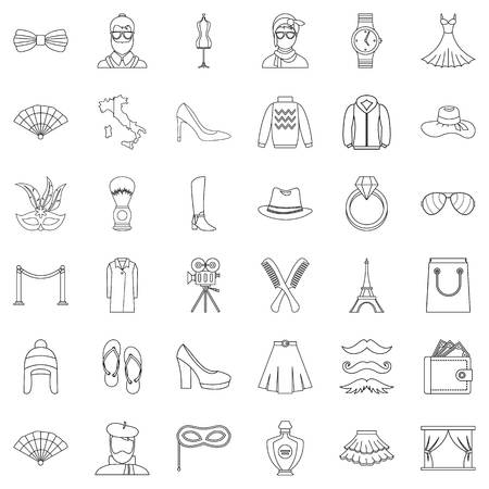 Mode icons set. Outline style of 36 mode vector icons for web isolated on white background