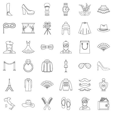 Model icons set, outline style.