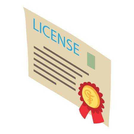 License icon, isometric style