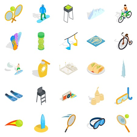 Gamble icons set, isometric styleのイラスト素材