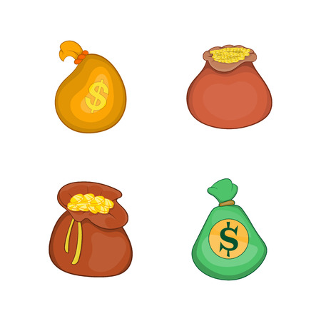 Money bag icon set. Cartoon set of money bag vector icons for your web design isolated on white background