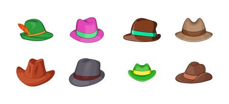 Illustration for Panama hat icon set. Cartoon set of panama hat vector icons for your web design isolated on white background - Royalty Free Image