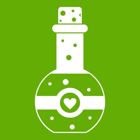 Flask of love elixir icon white isolated on green background. Vector illustration