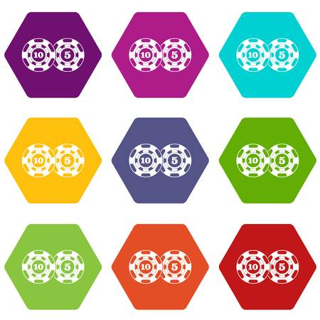 Poker chips nominal five and ten icon set many color hexahedron isolated on white vector illustration