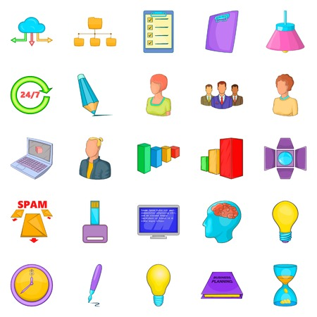 Working mood icons set. Cartoon set of 25 working mood vector icons for web isolated on white background