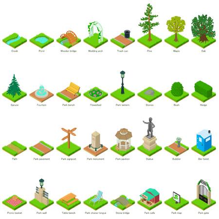 Illustration pour Park nature elements icons set, isometric style. - image libre de droit