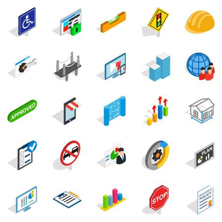 Resolve icons set. Isometric set of 25 resolve vector icons for web isolated on white background