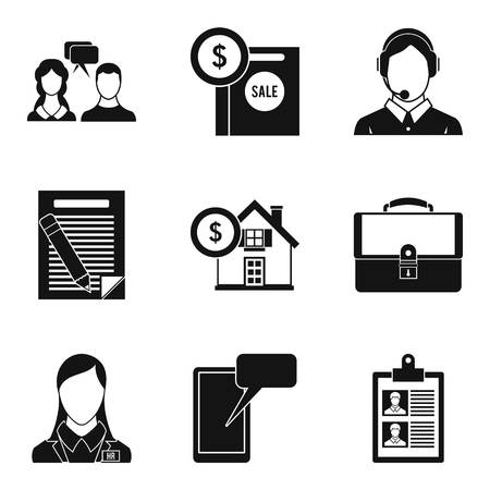 Dispute icons set, simple style illustration on white background.