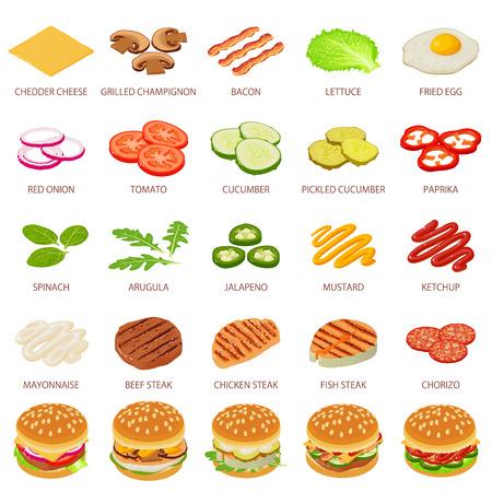 Burger ingredient icons set, isometric style