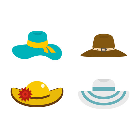 Illustration pour Woman hat icon set, flat style - image libre de droit