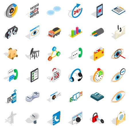 Mains icons set. Isometric set of 36 mains vector icons for web isolated on white background
