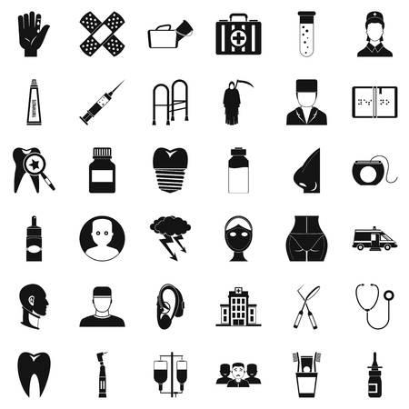 Holistic icons set, simple style