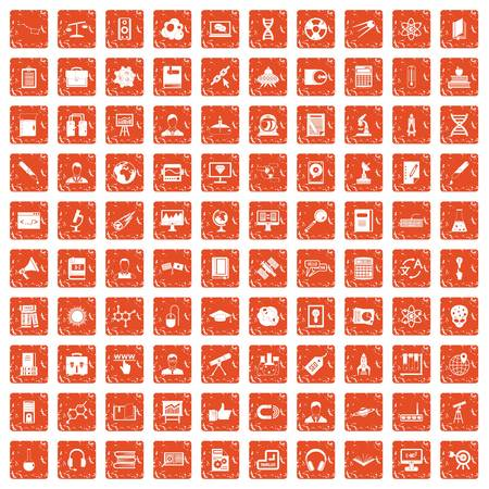100 researcher science icons set in grunge style orange