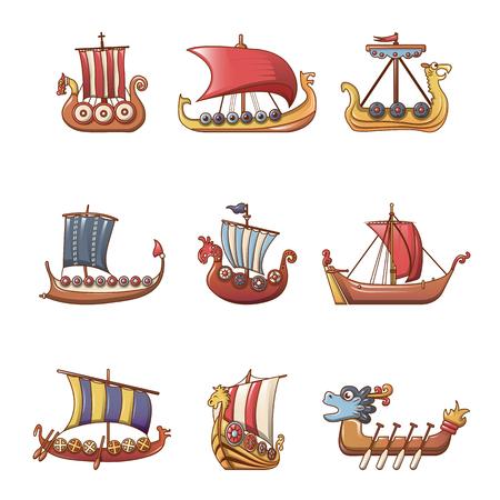 Illustration pour Viking ship boat drakkar icons set, cartoon style - image libre de droit