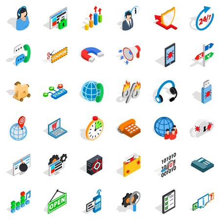Smart net icons set, isometric style