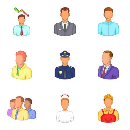 Best people icons set, cartoon style Vector illustration.