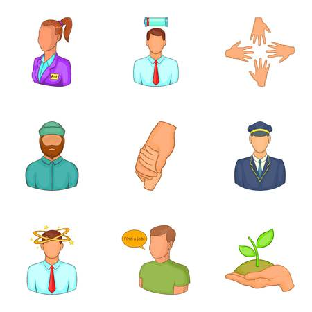 Description of staff icons set, cartoon style Vector illustration.