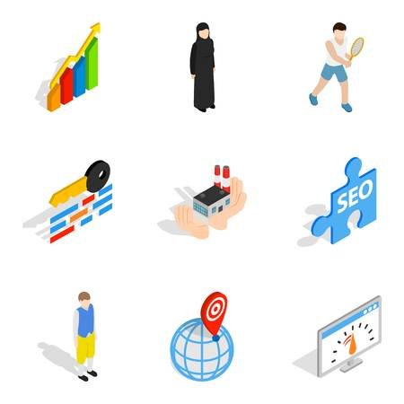 Working personnel icons set, isometric style Vector illustration.
